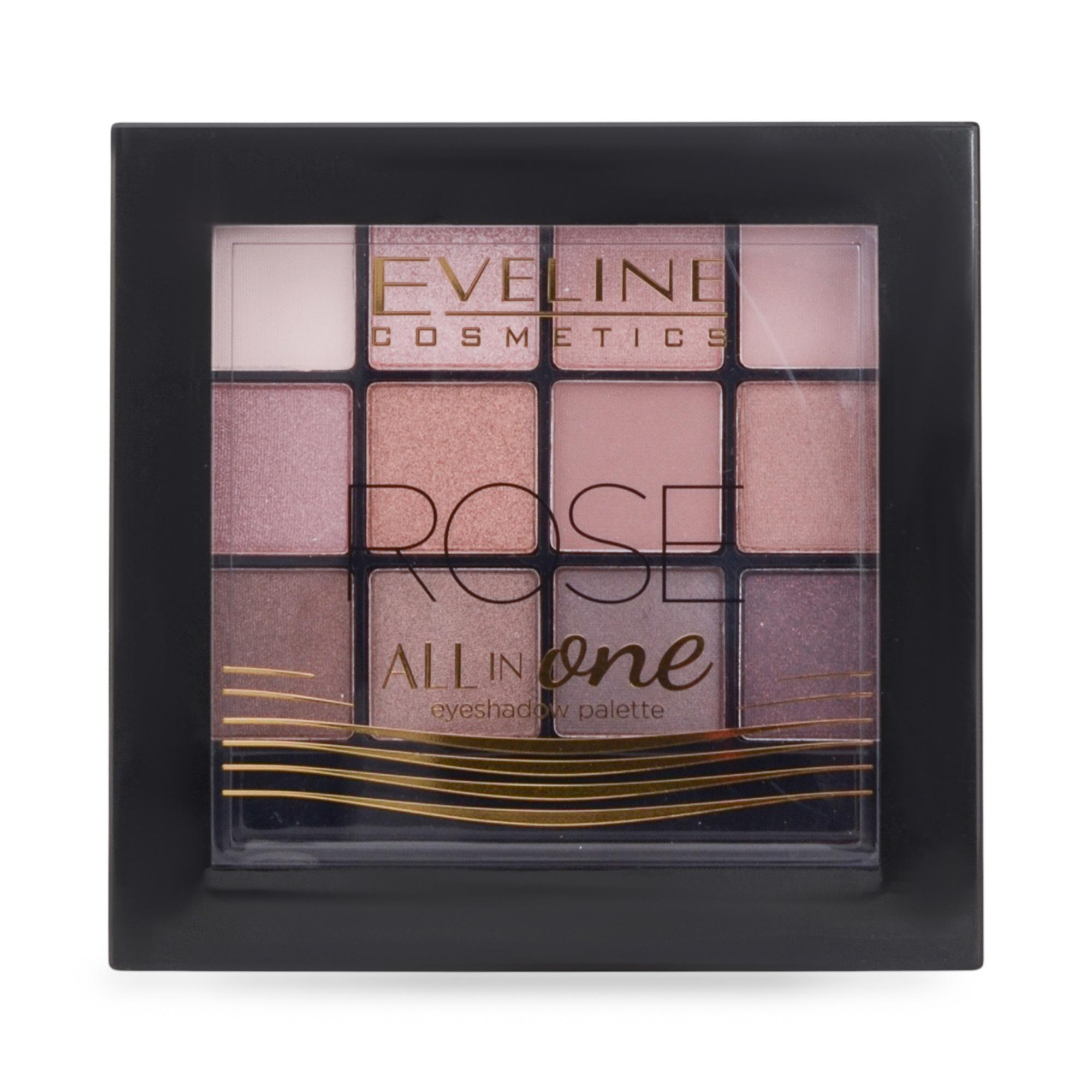Палетка тіней для повік Eveline Cosmetics All In One Eyeshadow Palette 02 Rose, 12гр