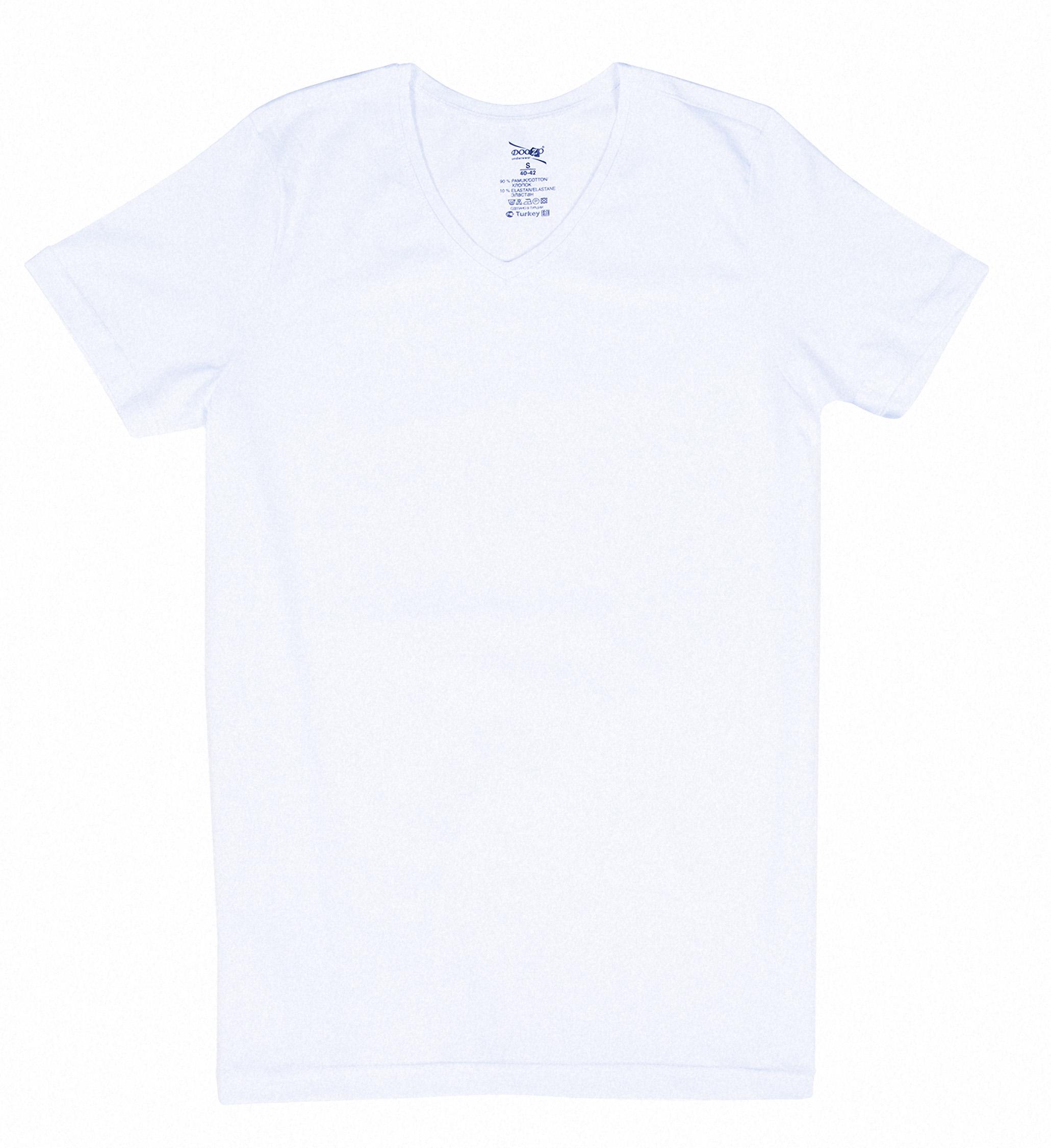 Купить Футболка мужская Doozo V-вырез р.XL белый м.434