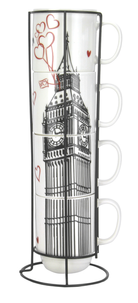 Купить Набор чашек Limited Edition LONDON на метал.подставке, 4*420мл, B1163-09359-2