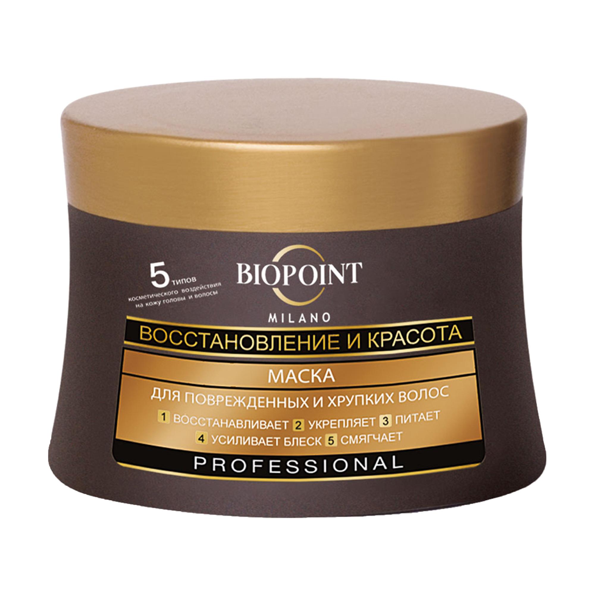 Маска Biopoint Milano Professional восстановление и красота, для поврежденных и хрупких волос, 250 мл