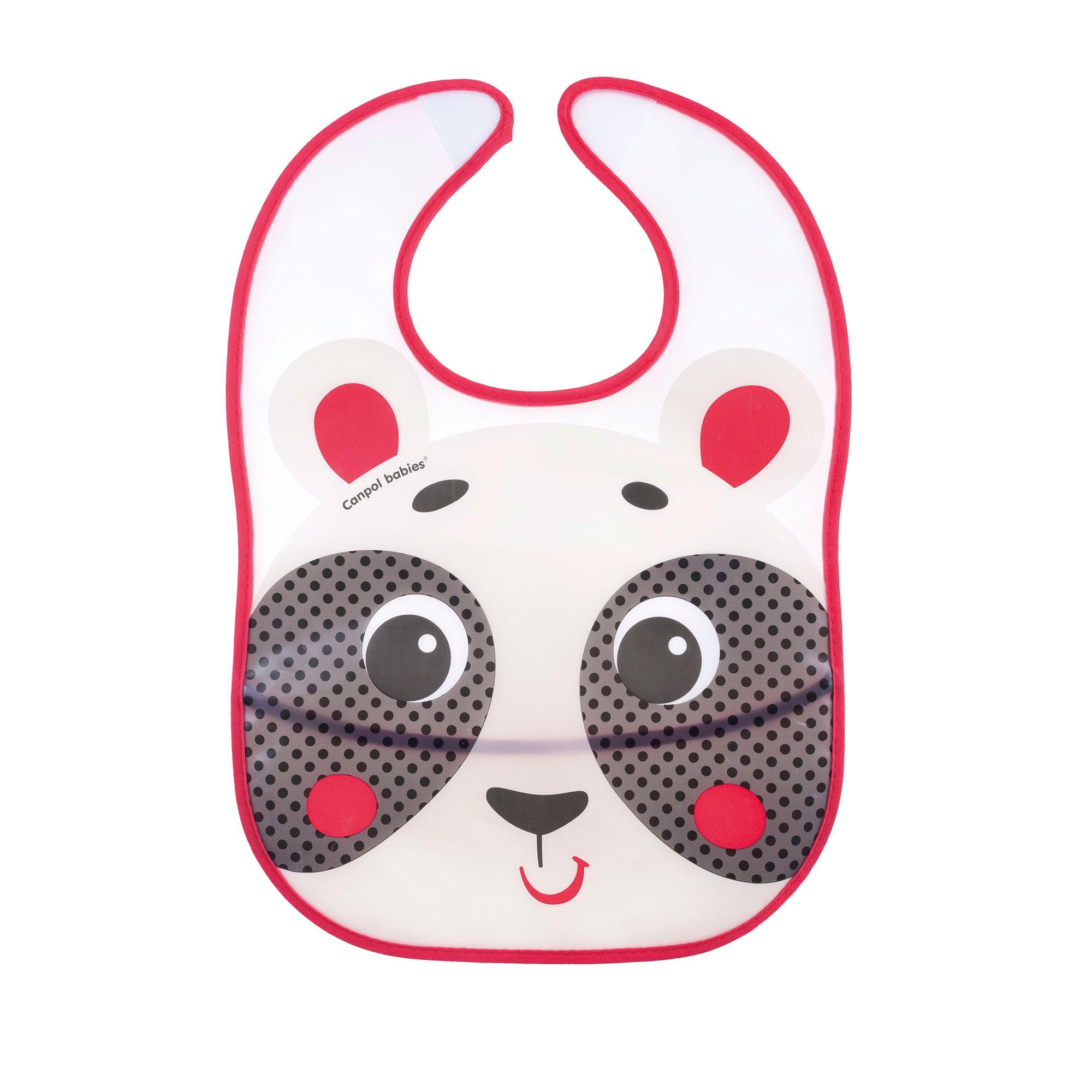 Купить Слюнявчик Canpol babies пластиковый с кармашком Hello Little бежевый