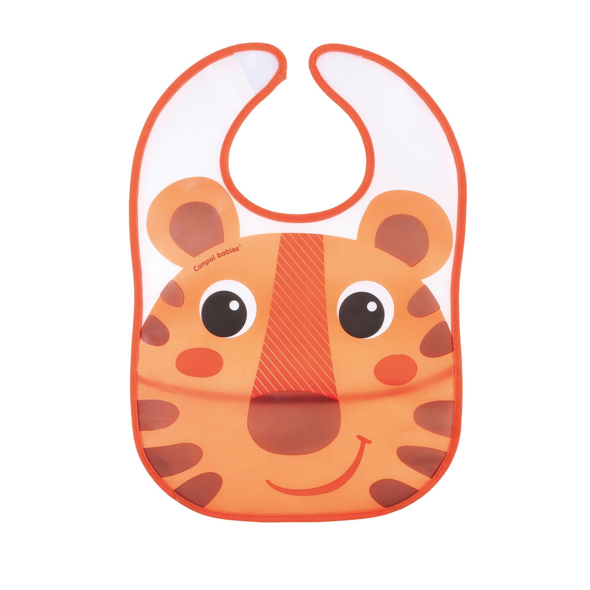 Купить Слюнявчик Canpol babies пластиковый с кармашком Hello Little оранжевый
