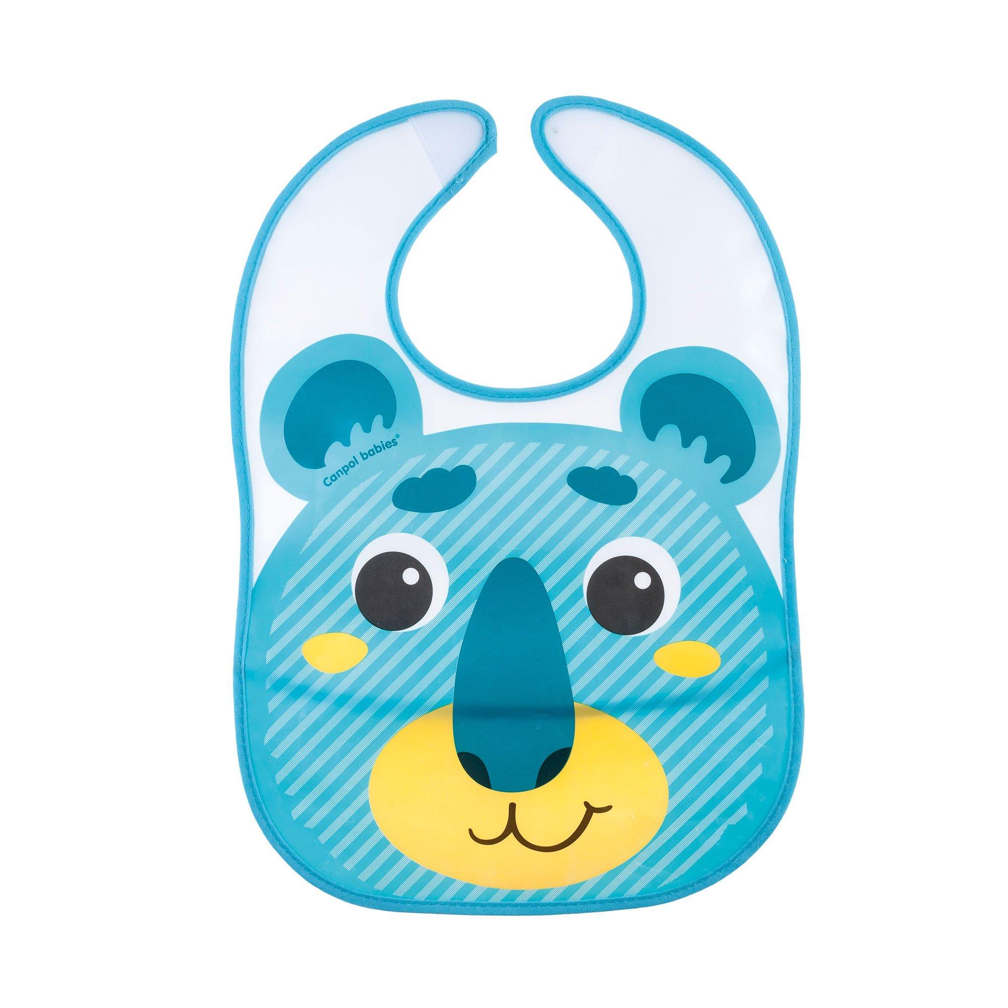 Купить Слюнявчик Canpol babies пластиковый с кармашком Hello Little бирюзовый