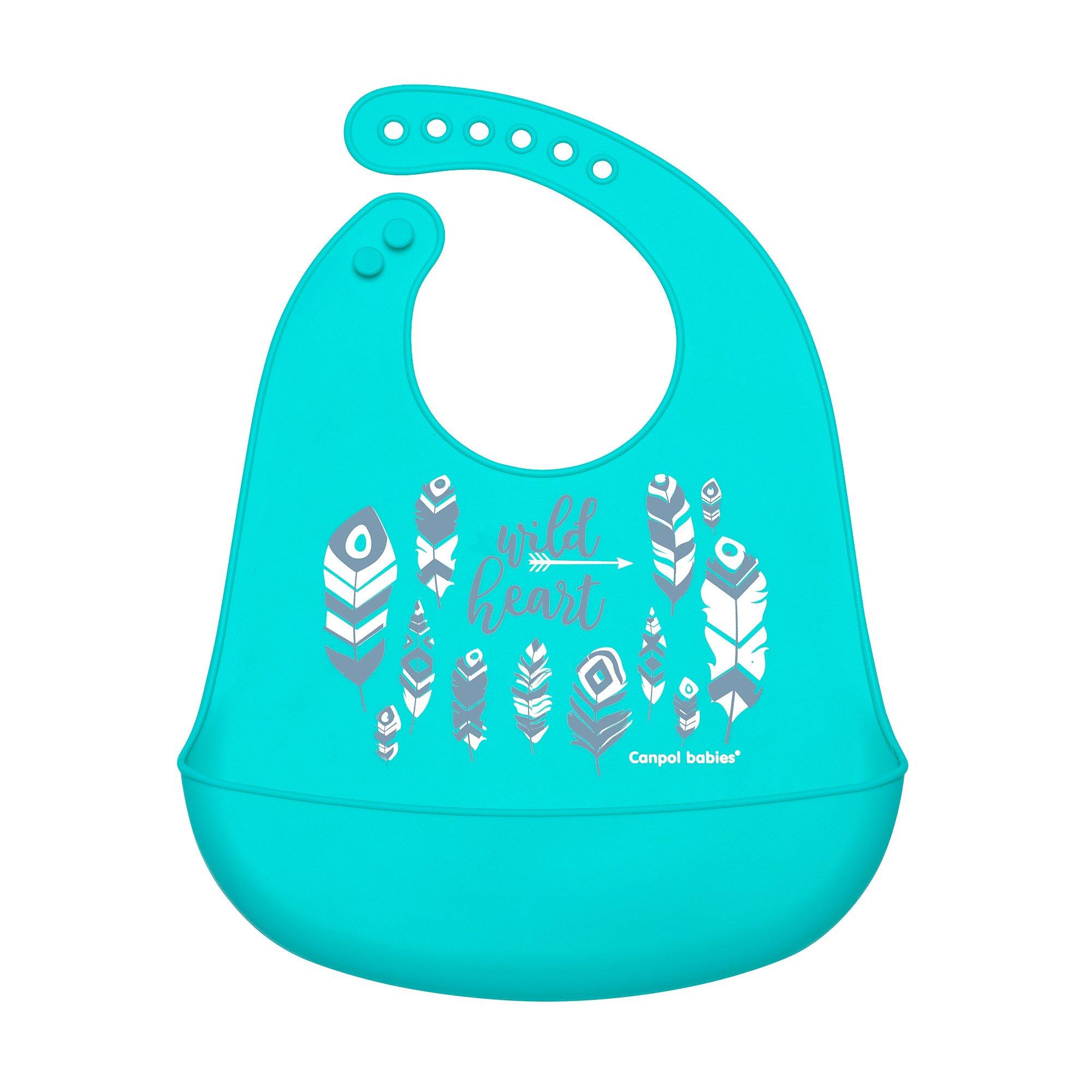 Купить Слюнявчик Canpol babies силиконовый с кармашком Wild Nature - голубой 74-023 blu