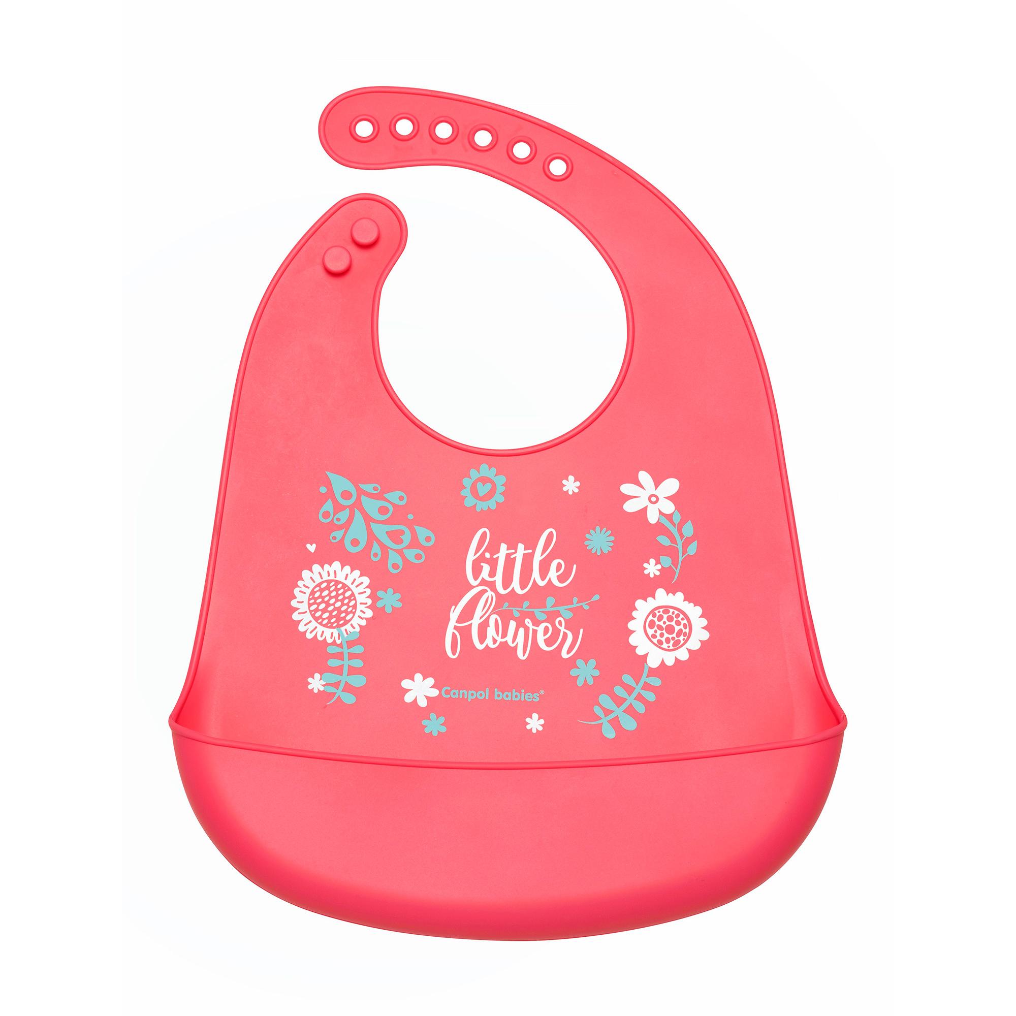 Купить Слюнявчик Canpol babies силиконовый с кармашком Wild Nature - розовый 74-023 pin