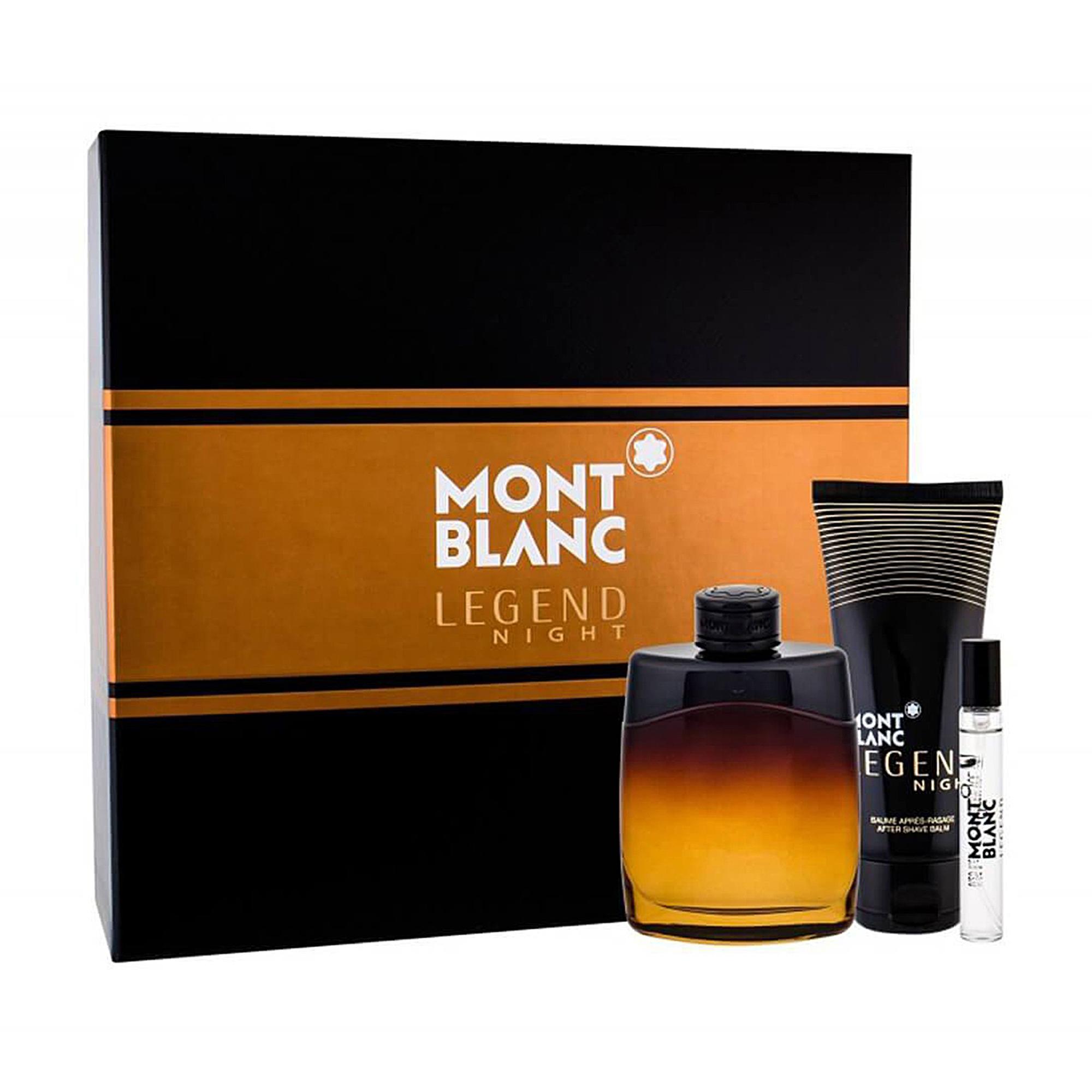 Набір чоловічий Montblanc Legend Night (парфумована вода, 100 мл + парфумована вода, 7.5 мл (мініатюра) + бальзам після гоління, 100 мл)