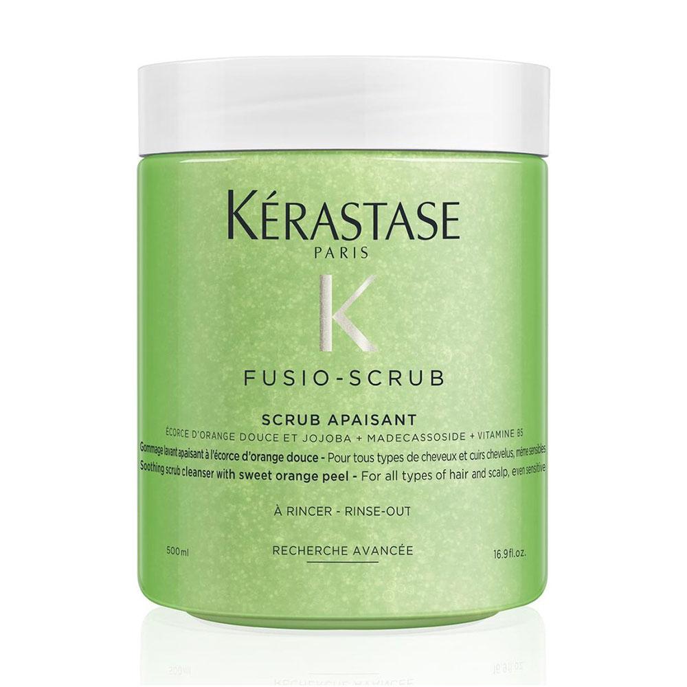 Заспокійливий скраб Kerastase Fusio-Scrub Apaisant з цедрою солодкого апельсину для всіх типів волосся та шкіри голови, навіть чутливої, 500 мл