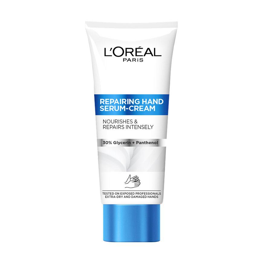 Подарунок! Крем для рук L'Oreal Paris Restoring Hand Serum-Cream для дуже сухої та пошкодженої шкіри, 100 мл