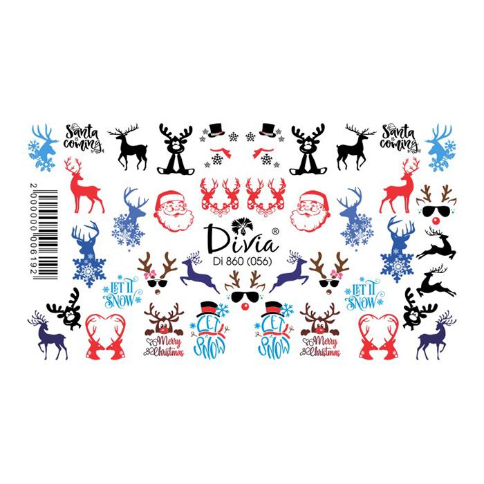 Наклейки для нігтів Divia Слайдер-дизайн Di860 (056) зимові